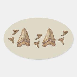 Fossil Shark Teeth Oval Sticker