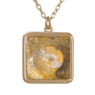 Fossilized Snail and Polished Rock Photo Square Pendant Necklace