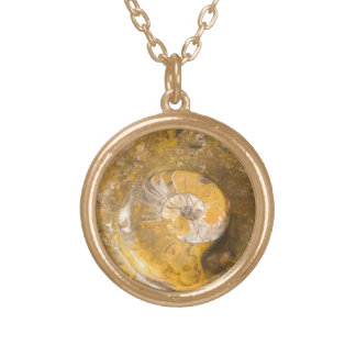 Fossilized Snail Polished Rock Photo Round Pendant Necklace