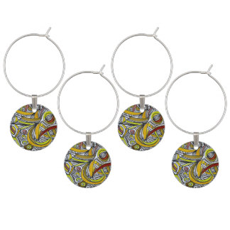 Fossils-Modern Geometric Doodle Pattern Wine Charm