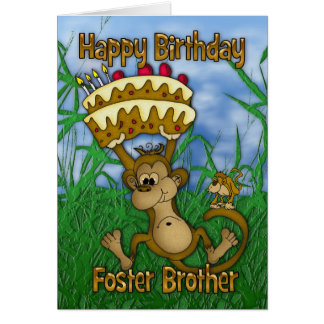 Foster Brother Happy Birthday with monkey holding Card