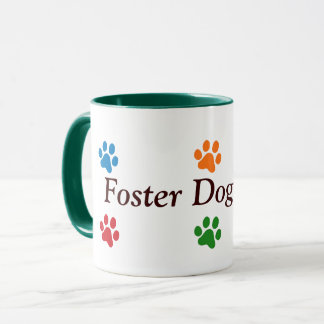 Foster Dog Mum-Colourful Paw Prints Mug