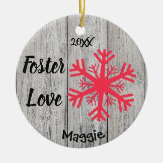 Foster Love - Customised Pink Snowflakes Adoption Ceramic Ornament