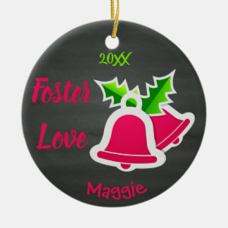 Foster Love - Customized Pink Bells Adoption Ceramic Ornament