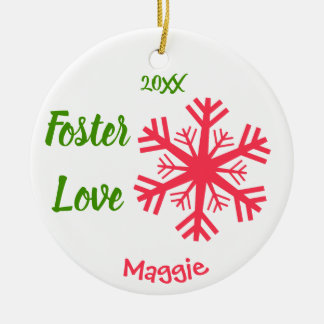 Foster Love - Customized Pink Snowflakes Adoption Ceramic Ornament
