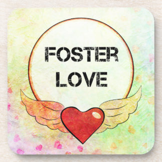 Foster Love Watercolor Heart Coaster