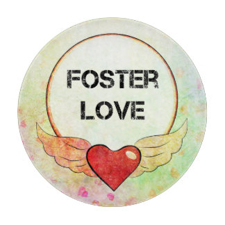 Foster Love Watercolor Heart Cutting Board