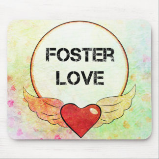 Foster Love Watercolor Heart Mouse Pad