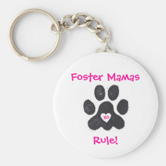 Foster Mamas Rule! Basic Round Button Key Ring