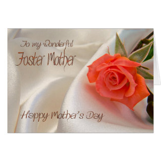 Foster Mother, Mother's day card with a pink rose