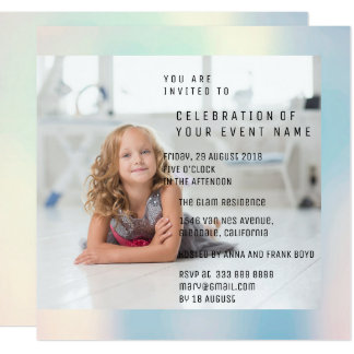 Foto Birthday Party Mother Pearl Metallic Card