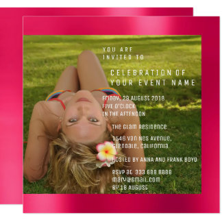 Foto Birthday Party Pink Rose Copper  Metallic Card