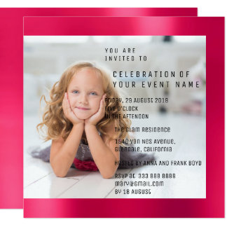 Foto Birthday Party Pink Rose Ruby Metallic Card