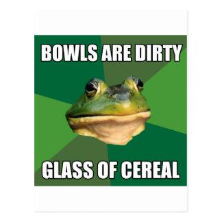 Foul Bachelor Frog Glass of Cereal Postcard