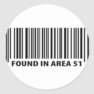 found in area 51 icon classic round sticker