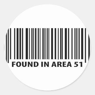 found in area 51 icon round sticker