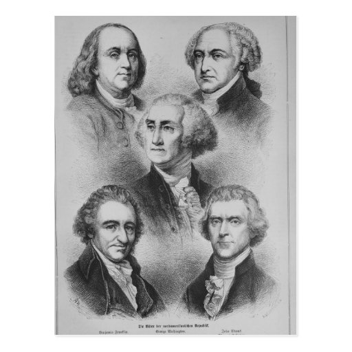 Founding Fathers black and white Portraits Postcard