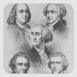 Founding Fathers black and white Portraits Square Sticker