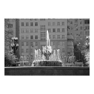 """Fountain and """"House on the Embankment"""" Photo Print"""