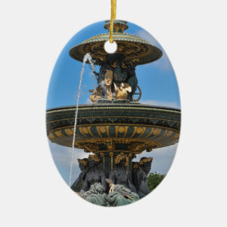 Fountain at Place de Concorde in Paris, France Ceramic Oval Decoration