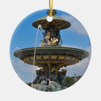 Fountain at Place de Concorde in Paris, France Round Ceramic Decoration