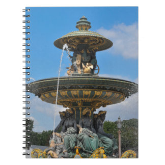 Fountain at Place de Concorde in Paris, France Spiral Note Books