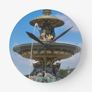 Fountain at Place de Concorde in Paris, France Wallclock