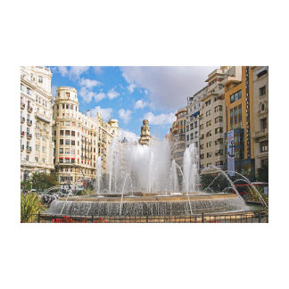 Fountain at the Administration Square in Valencia. Canvas Print