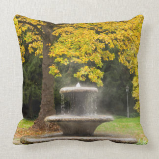 Fountain by a tree in fall, Germany Cushion