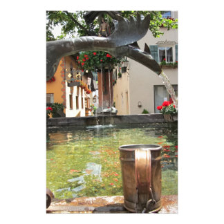 Fountain, Castelrotto (Kastelruth), Italy Stationery Paper