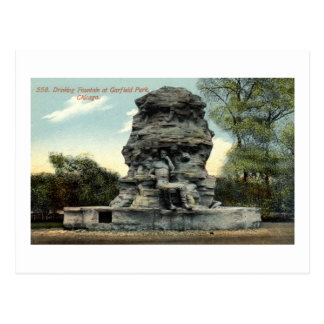 Fountain, Garfield Park, Chicago IL Vintage Postcard