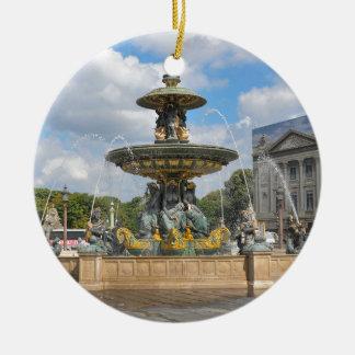 Fountain in Place de Concorde in Paris, France Round Ceramic Decoration
