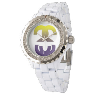 Fountain Of Hope Rhinestone White Enamel Watch