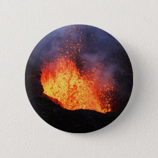 Fountain of hot lava erupts from crater volcano 6 cm round badge