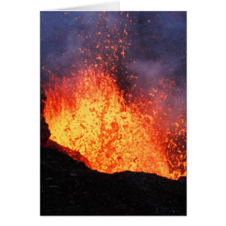 Fountain of hot lava erupts from crater volcano card