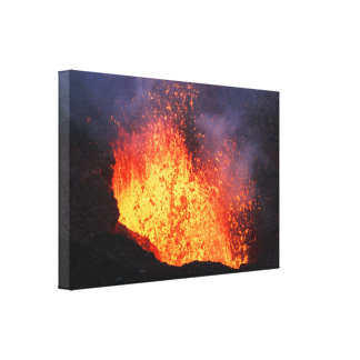 Fountain of lava erupting from crater volcano canvas print