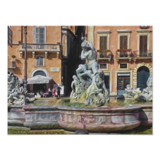 Fountain of Neptune Navona Square Rome Italy Poster