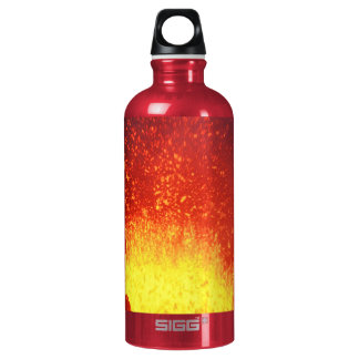 Fountain of red lava eruption from crater volcano water bottle