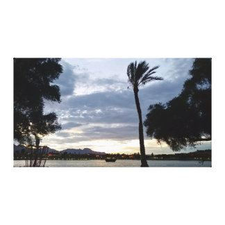 Fountain Park Palm Tree Silhouette Canvas Print