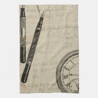 Fountain Pens and Watchface with Notes Tea Towel