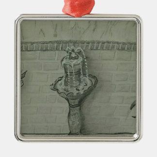 fountain Silver-Colored square decoration
