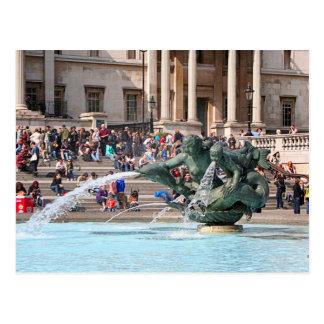 Fountain, Trafalgar Square, London, England 2 Postcard