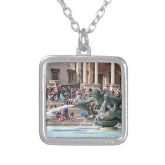 Fountain, Trafalgar Square, London, England 2 Silver Plated Necklace