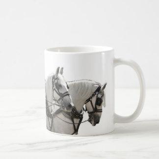 Four Abreast Grey Percheron Draft Horses Coffee Mug