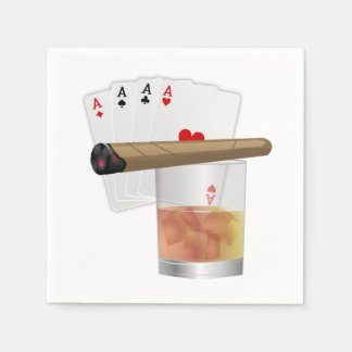 Four Aces, A Drink and A Cigar Disposable Serviettes