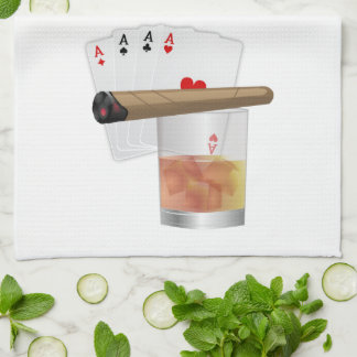 Four Aces, A Drink and A Cigar Kitchen Towels