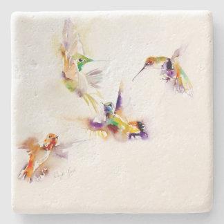 """Four Acrobats"" Hummingbird Print Stone Coaster"