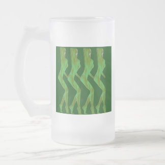 FOUR AMAZONS FROSTED GLASS BEER MUG