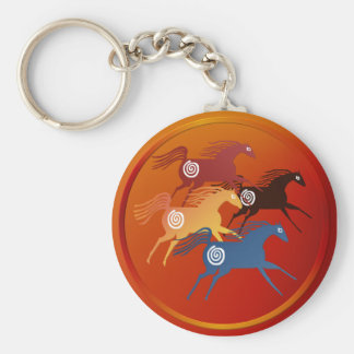 Four Ancient Horses-Keychain Basic Round Button Key Ring