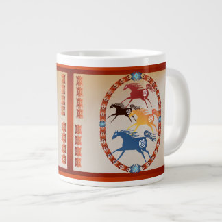 Four Ancient Horses Oval Giant Coffee Mug